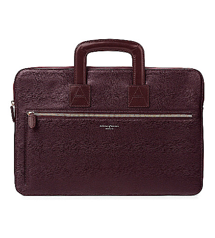 ASPINAL OF LONDON Connaught saffiano leather document case (Burgundy