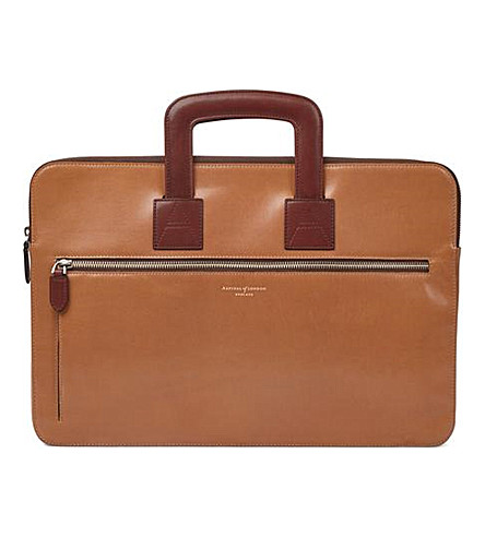 ASPINAL OF LONDON Connaught leather document case (Natural+tan