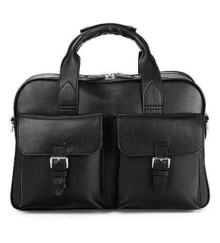 ASPINAL OF LONDON Harrison leather overnight business bag (Black
