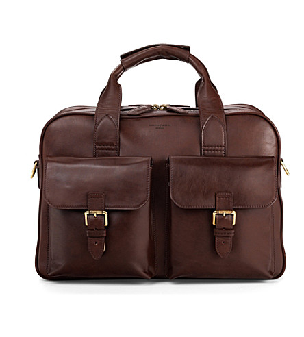 ASPINAL OF LONDON Harrison leather overnight business bag (Chocolate
