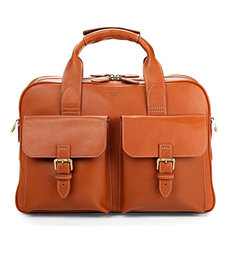 ASPINAL OF LONDON Harrison leather overnight business bag (Tan
