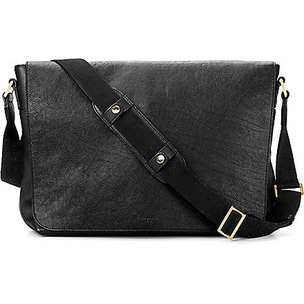 ASPINAL OF LONDON 'W' textured leather messenger bag (Black