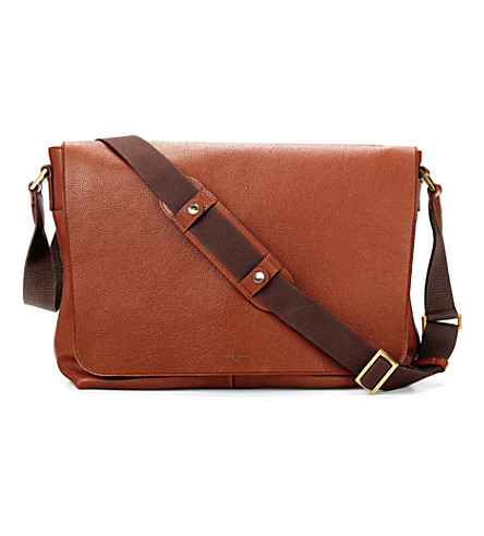 ASPINAL OF LONDON 'W' textured leather messenger bag (Tan