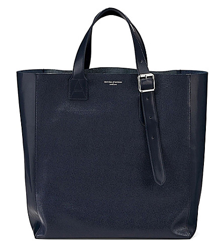 ASPINAL OF LONDON A leather tote bag (Navy
