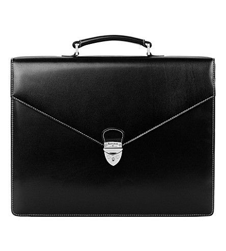 ASPINAL OF LONDON Executive leather briefcase (Black