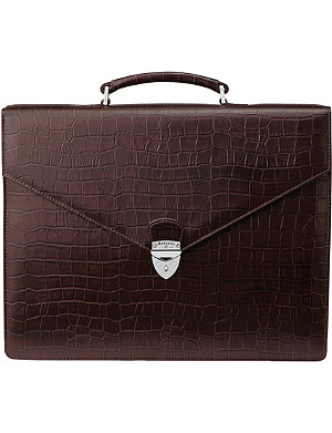 ASPINAL OF LONDON Executive embossed-leather briefcase