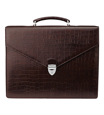 ASPINAL OF LONDON Executive embossed-leather briefcase (Brown