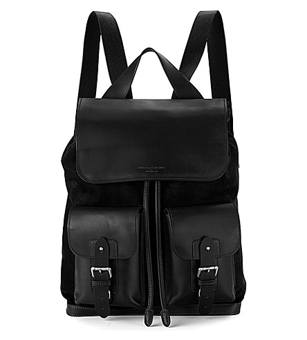ASPINAL OF LONDON Shadow nubuck and leather rucksack (Black