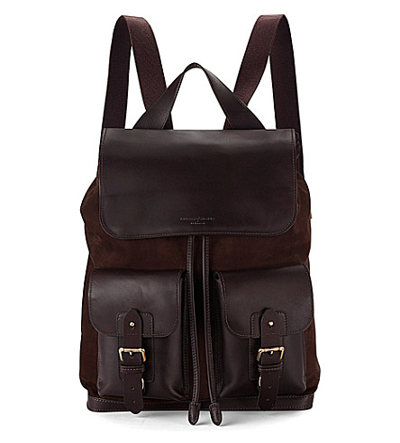 ASPINAL OF LONDON Shadow nubuck and leather rucksack (Brown