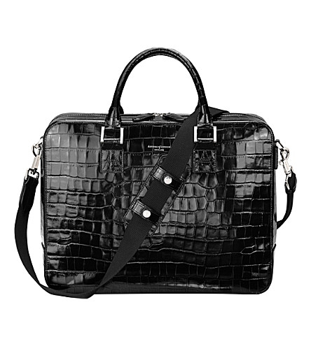 ASPINAL OF LONDON Mount street large leather tech (Black