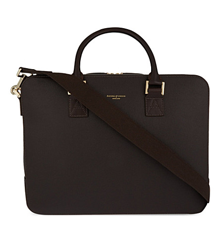 ASPINAL OF LONDON Mount street large saffiano leather tech bag (Brown