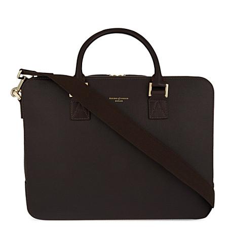 ASPINAL OF LONDON 芒街大 saffiano 皮革技术袋 (棕色