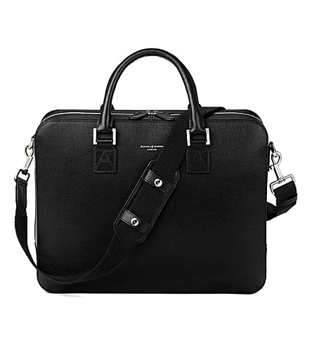 ASPINAL OF LONDON Mount street large saffiano leather tech bag (Black