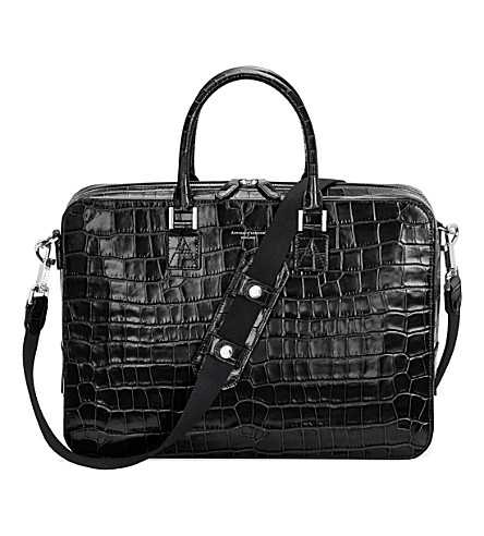 ASPINAL OF LONDON Mount Street Tech mock-croc leather bag (Black