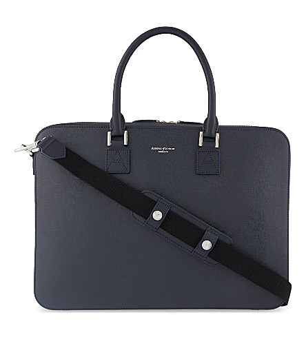 ASPINAL OF LONDON Mount Street small saffiano leather tech bag (Navy
