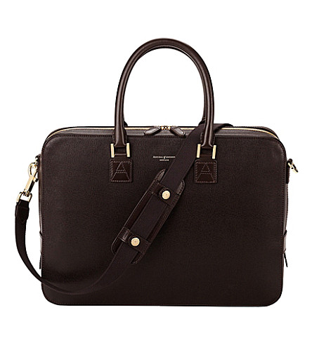 ASPINAL OF LONDON Mount Street small saffiano-leather laptop bag (Brown