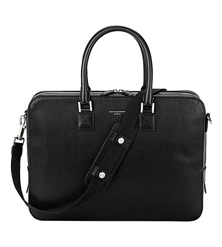 ASPINAL OF LONDON Mount Street small leather laptop bag (Black