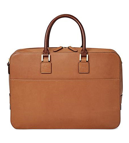 ASPINAL OF LONDON Mount Street large leather tech bag (Natural+tan