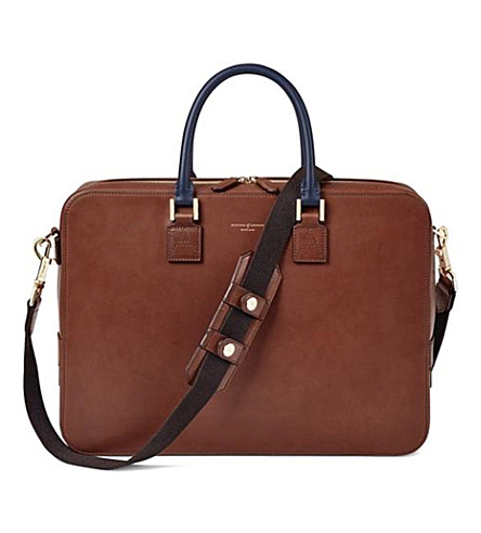 ASPINAL OF LONDON Small Mount Smart Tech briefcase (Redwood