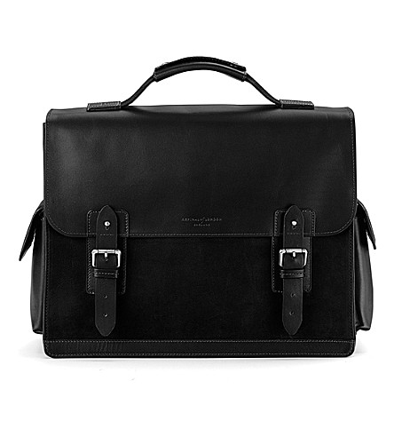 ASPINAL OF LONDON Shadow leather and nubuck briefcase (Black