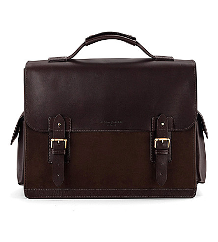 ASPINAL OF LONDON Shadow leather and nubuck briefcase (Brown