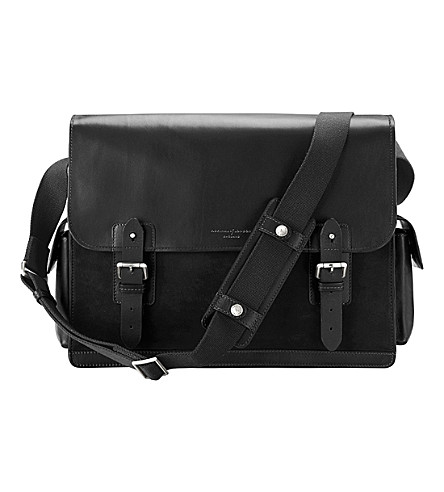 ASPINAL OF LONDON Shadow large leather messenger bag (Black