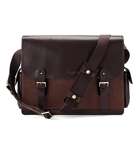 ASPINAL OF LONDON Shadow large leather messenger bag (Brown