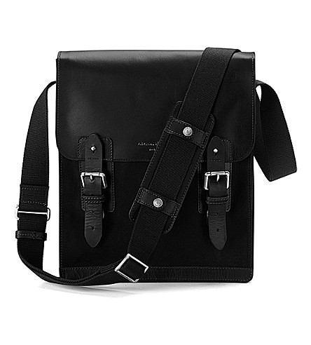 ASPINAL OF LONDON Shadow leather and nubuck messenger bag (Black