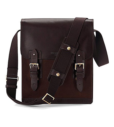 ASPINAL OF LONDON Shadow leather and nubuck messenger bag (Brown