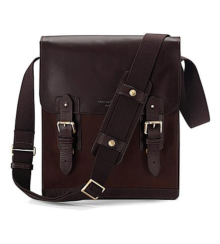 ASPINAL OF LONDON Shadow leather and nubuck messenger bag (Brown