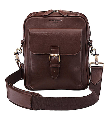 ASPINAL OF LONDON Harrison small leather messenger bag (Chocolate