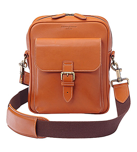 ASPINAL OF LONDON Harrison small leather messenger bag (Tan