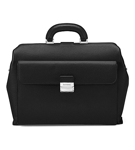 ASPINAL OF LONDON Savile pebble-embossed leather doctor's bag (Black