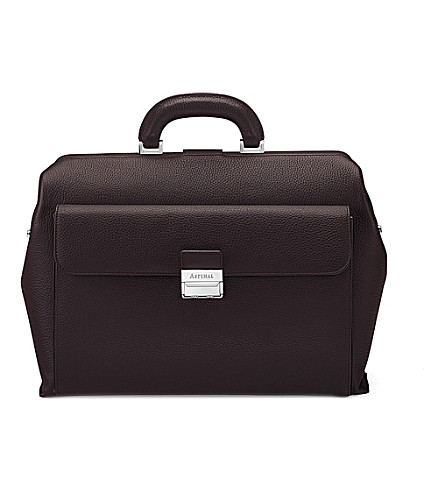 ASPINAL OF LONDON Savile pebble-embossed leather doctor's bag (Brown