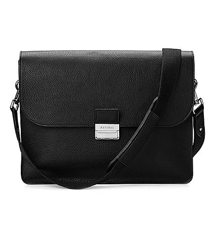 ASPINAL OF LONDON Savile pebble-embossed leather messenger bag (Black