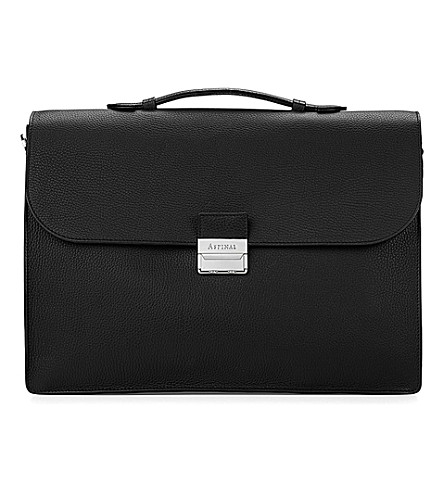 ASPINAL OF LONDON Combination lock pebble-embossed leather briefcase (Black