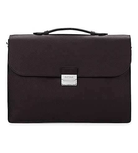 ASPINAL OF LONDON Combination lock pebble-embossed leather briefcase (Brown