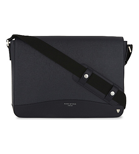 ASPINAL OF LONDON Anderson leather Messenger bag (Navy