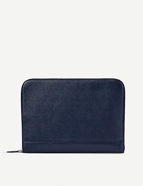 ASPINAL OF LONDON Zipped leather laptop case