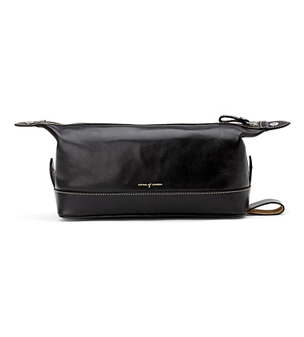 ASPINAL OF LONDON Men's classic leather washbag (Black
