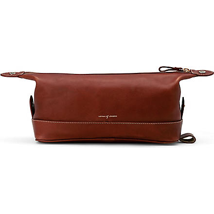 ASPINAL Classic leather wash bag (Cognac