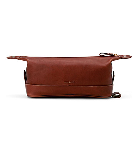 ASPINAL OF LONDON Men's classic leather washbag (Cognac