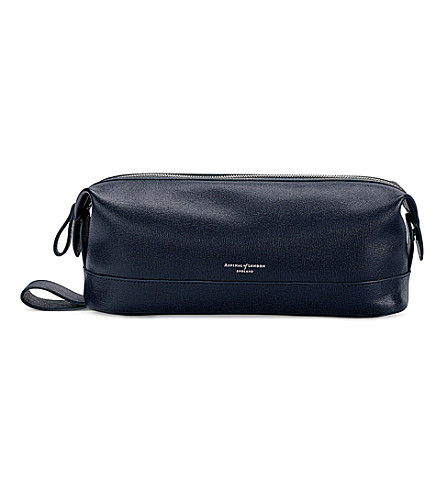 ASPINAL OF LONDON Men's classic leather washbag (Navy