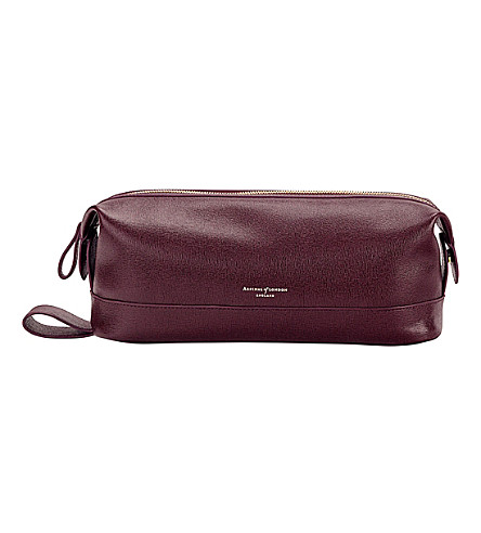 ASPINAL OF LONDON Classic leather wash bag (Burgundy