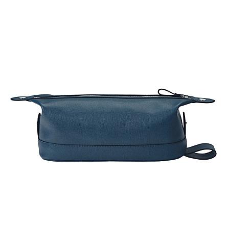 ASPINAL OF LONDON Saffiano 皮革洗袋 (蓝绿色
