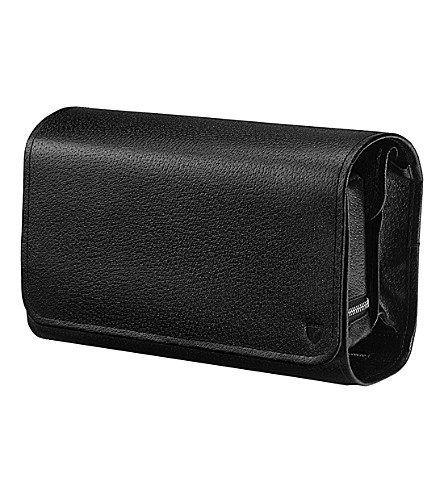 ASPINAL OF LONDON Hanging leather wash bag (Black