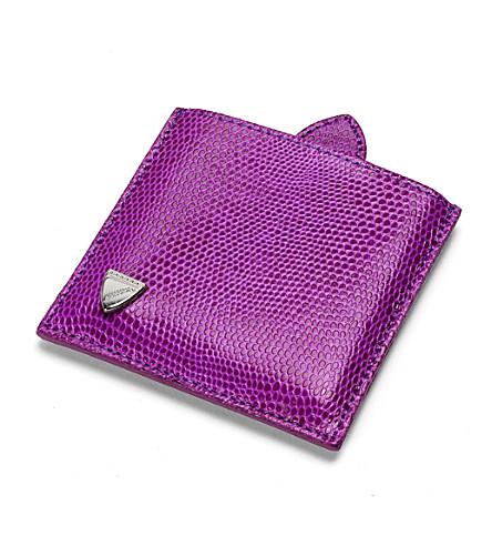 ASPINAL OF LONDON Compact travel mirror violet lizard & cr (Violet lizard&cream
