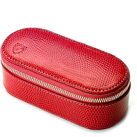 ASPINAL OF LONDON Leather handbag tidy make-up case (Red lizard & cream