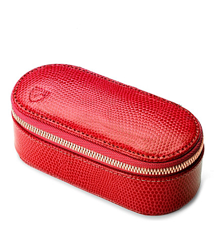 ASPINAL OF LONDON Lizatd-print leather handbag tidy (Red lizard & cream