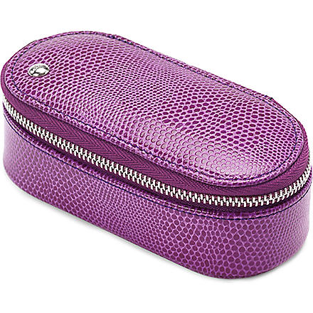 ASPINAL Leather handbag tidy make-up case (Violet lizard&cream